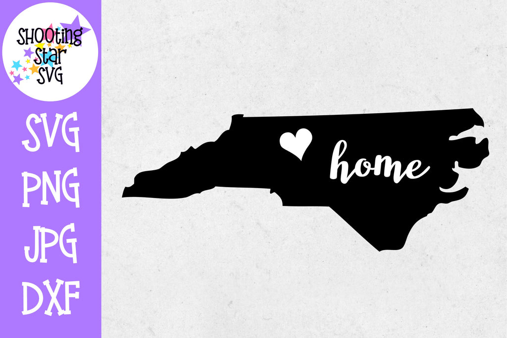 North Carolina State Home with Heart SVG - 50 States SVG - United States SVG