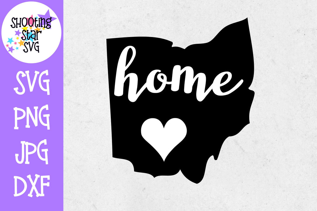 Ohio State Home with Heart SVG - 50 States SVG - United States SVG