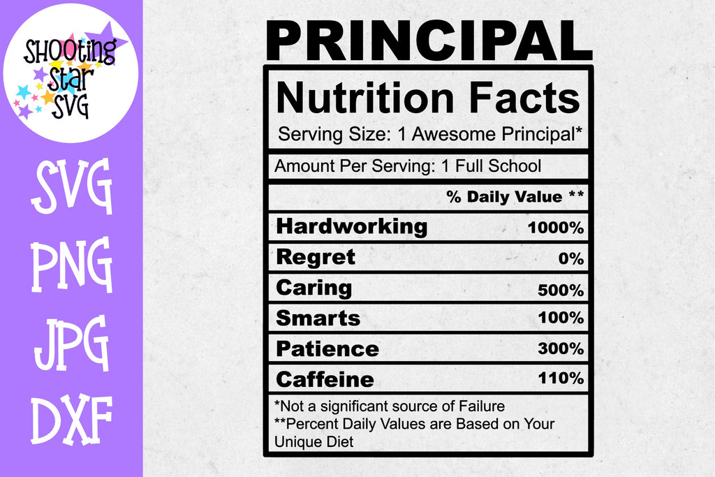 Principal Nutrition Facts SVG - Principal SVG