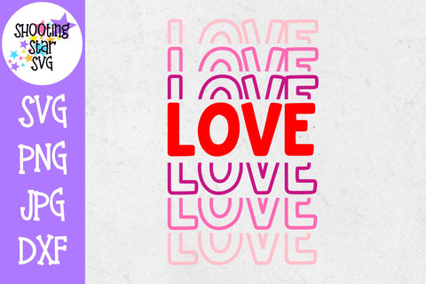 Stacked LOVE SVG - Valentine's Day SVG - Mirrored LOVE SVG