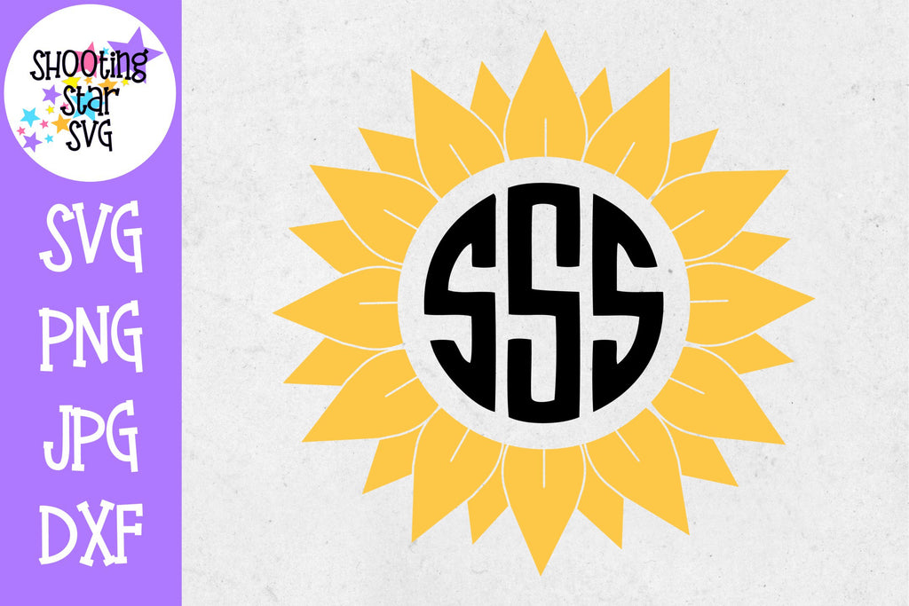Sunflower Monogram SVG - Circle Monogram SVG