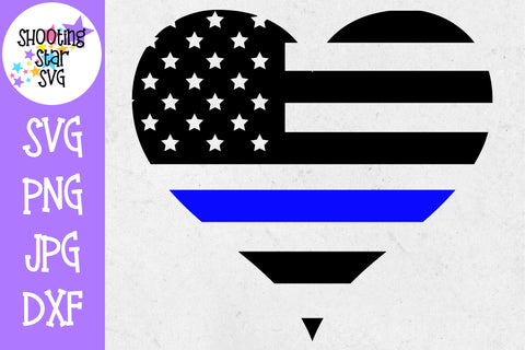American Flag Heart - Police Officer Wife - Thin Blue Line - Police Officer SVG