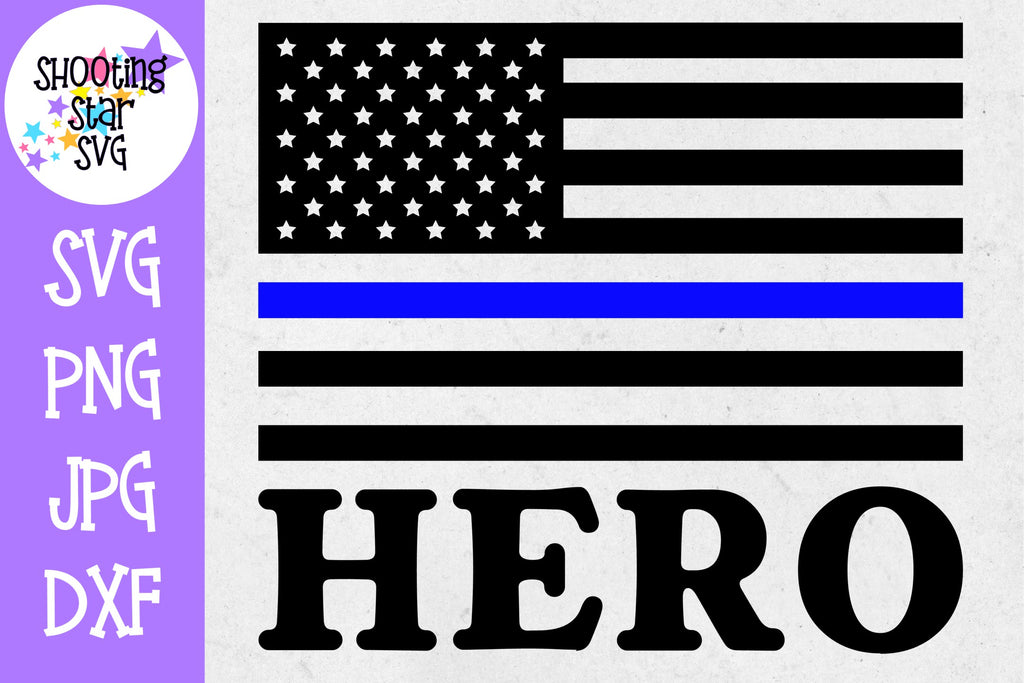 American Flag Hero - Thin Blue Line - Police Officer SVG