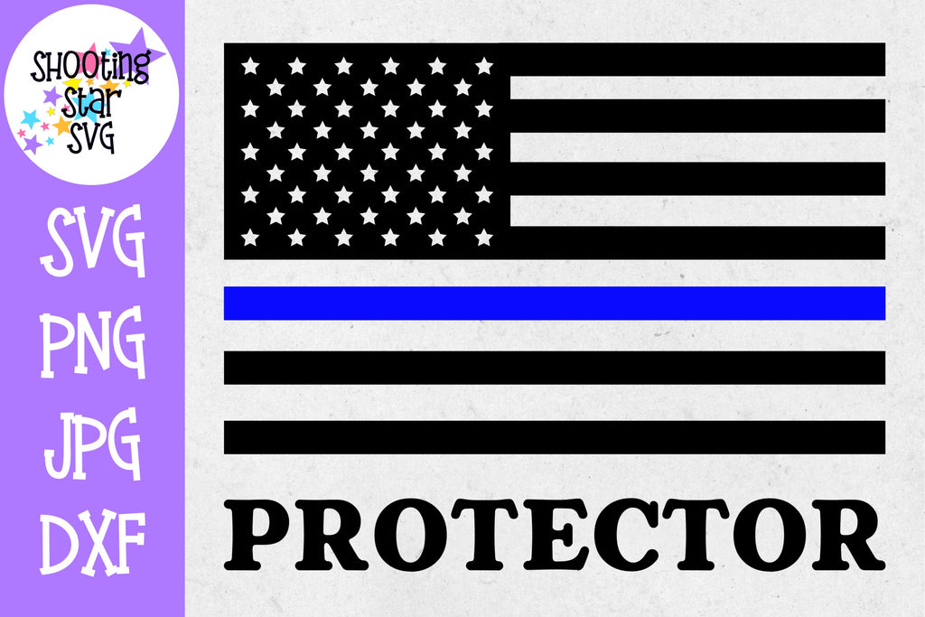 American Flag Protector- Thin Blue Line - Police Officer SVG