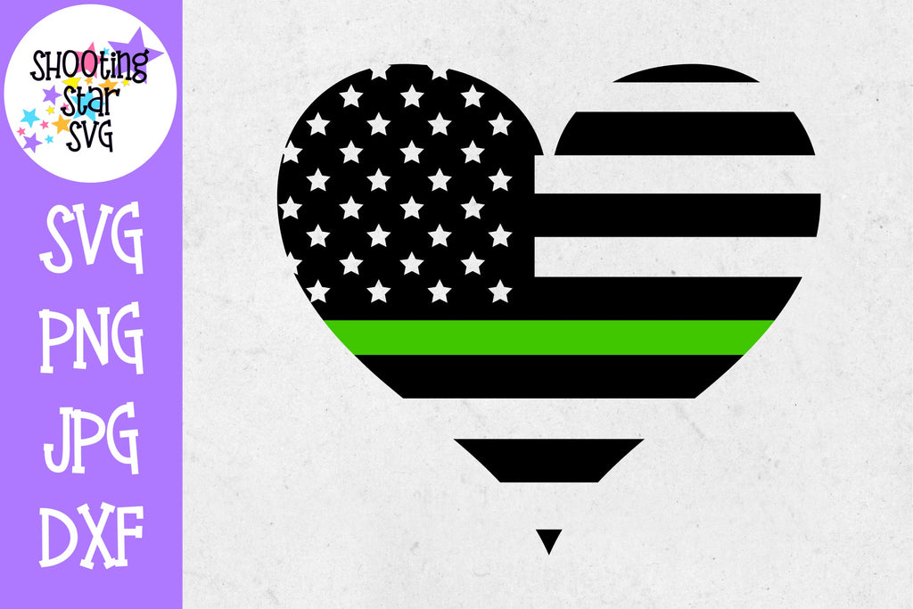 Thin Green Line American Flag Heart SVG - Military Wife SVG
