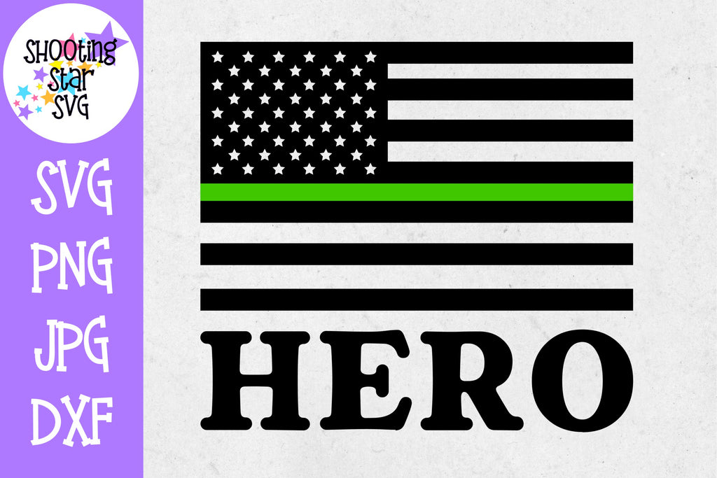 Thin Green Line American Flag SVG -Hero