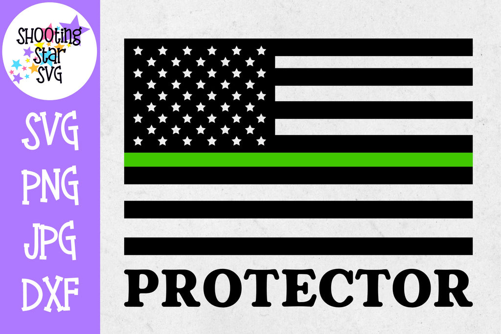 Thin Green Line American Flag SVG - Protector