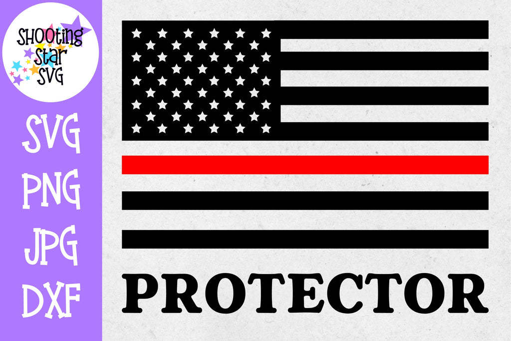 American Flag Protector- Thin Red Line - Firefighter SVG