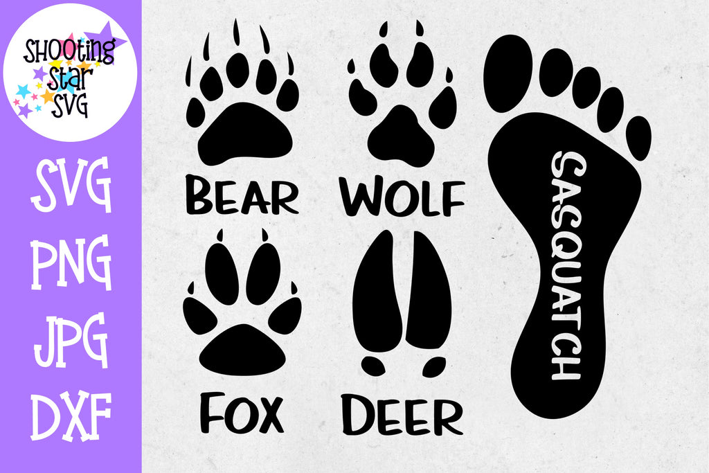 Animal Tracks with Sasquatch print - Children's SVG