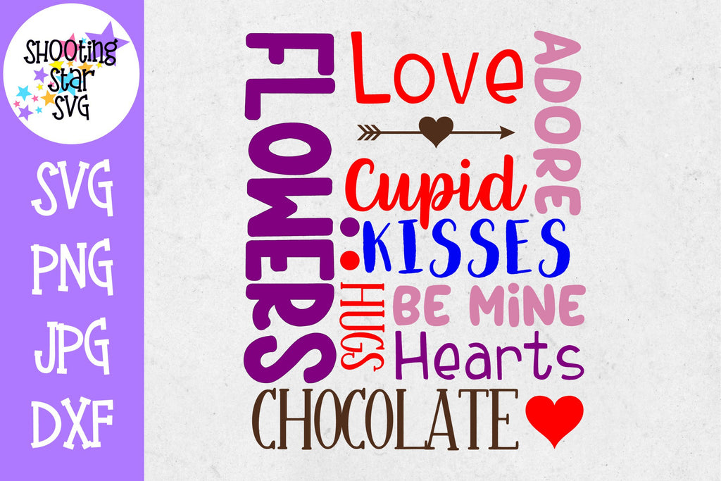 Valentine's Day Subway Art SVG - Valentine's Day Words