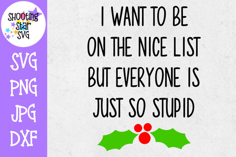 Want to be on Nice List Everyone is Stupid SVG - Christmas
