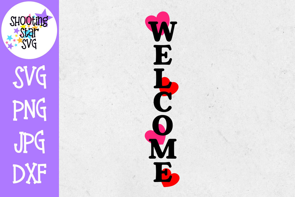 Welcome with hearts porch sign svg  - Front Door Sign - Home Decor SVG