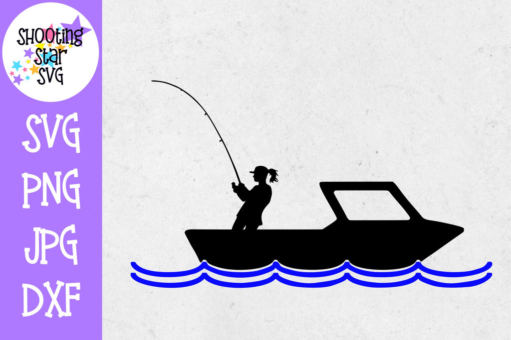 Woman in boat fishing - woman in fishing boat svg  - Fishing SVG