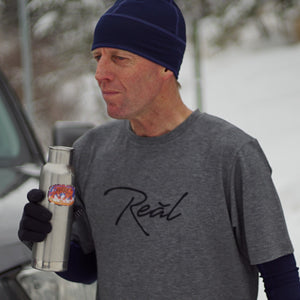 The heather grey of the Men's Blue Ridge shirt suggests comfort.  The Poly/Lycra/Tencel blended fabric delivers the comfort.  You can wear this shirt during your run, before your workout or race.  It is best worn while making the walk up to the podium afterwards.