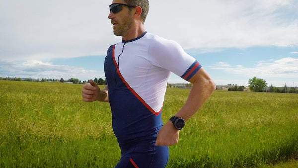 The perfect sleeved triathlon top for Ironman, 70.3, Olympic or sprint distance races.