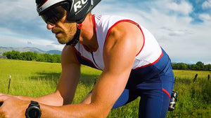 The perfect sleeveless Men's triathlon top for Ironman, 70.3, Olympic or sprint distance races.