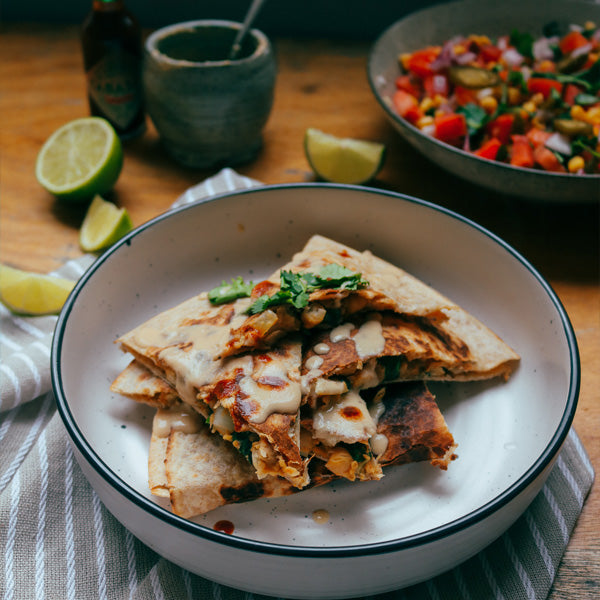 Smokey Chickpea and Spinach Quesadillas