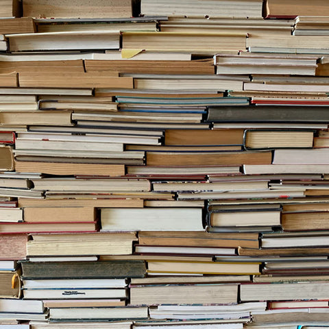 A shelf packed with books