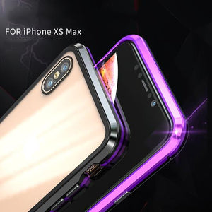 METAL MAGNETIC FRAME Glass Protective Case For iPhone XS XS Max XR X/8/8Plus/7/7Plus/6/6s/6Plus/6sPlus