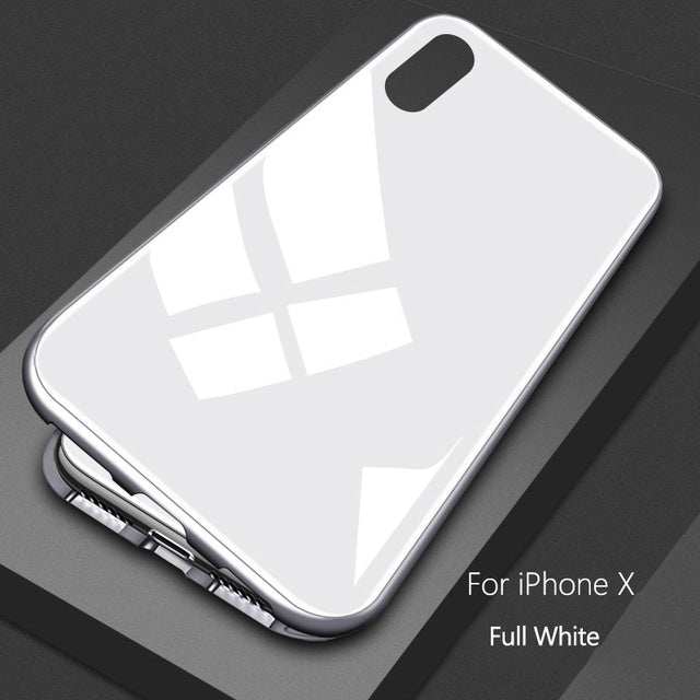 METAL MAGNETIC FRAME FULL COVER Glass Protective Case With For iPhone XS Xs Max XR X/8/8Plus/7/7Plus/6/6s/6Plus/6sPlus