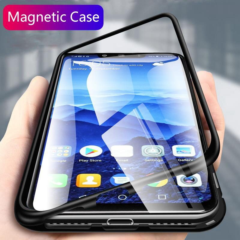 Huawei Mate 20 20 Pro 20Lite 20X Metal  Magnetic Adsorption Frame Clear Tempered Glass Phone Cases