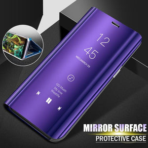 Flip Stand Mirror Leather Case Mirror  Smart Windows Flip Cover for Huawei Nova Y6 Y7 79 Honor 9Lite