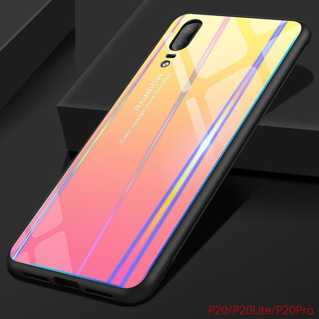 best service 4cc66 5ab3d Gradient Color Tempered Glass Case For Huawei P20 Lite Pro Bumper 9H Bling  Rainbow Case Silicone Huawei P 20 360 Full Back Cover