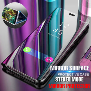 Luxury Plating Mirror Flip Case Full Cover For IPhone 7 6 6s X 8 Plus Protector Shockproof Case