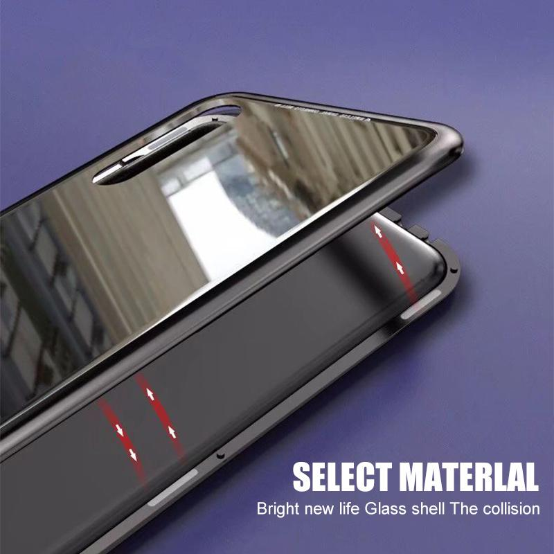 Magnetic Adsorption Case For Huawei P20 Case Metal Frame Tempered Glass Case