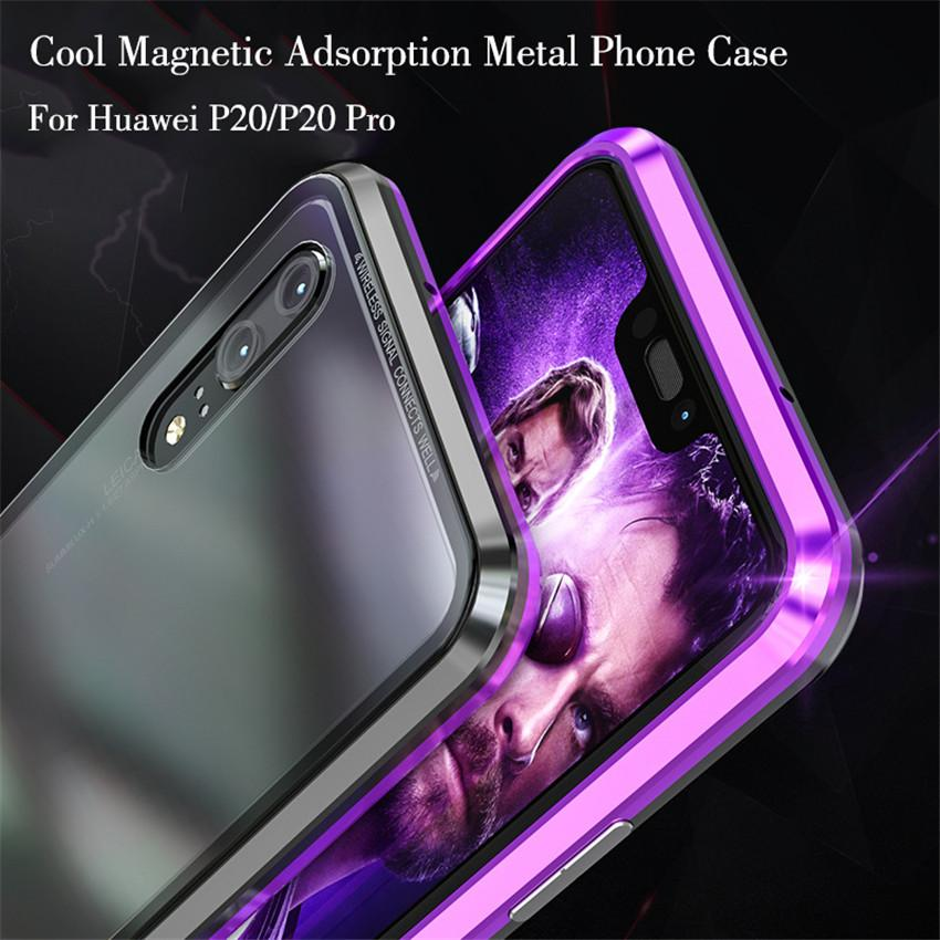 sneakers for cheap 12c69 04295 Magnetic Adsorption Metal Phone Case For Huawei P20 Pro Luxury Ultra Magnet  Tempered Glass Cover For huawei P20pro P20