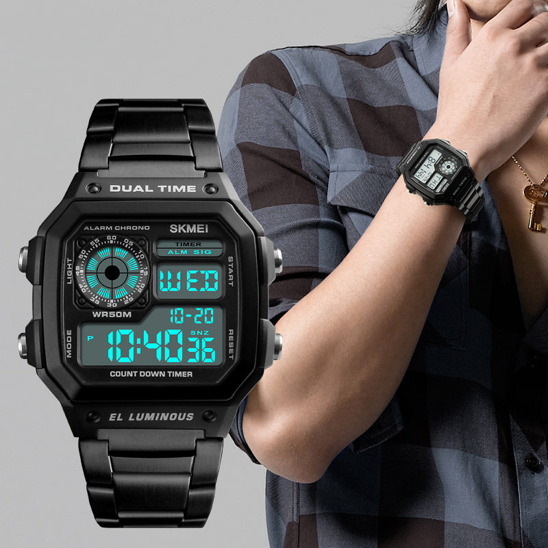 Fashion Trend Men's Business Table Explosion Models Outdoor Sports Personality Square Digital Display Electric Watch