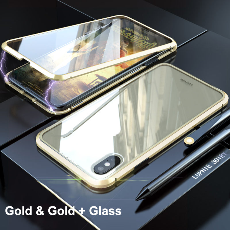 Magnetic Adsorption Case For iPhone X XS Max 8 7 Luxury Metal Tempered Two side Glass Cover Case For iPhone 10 8 7 Plus Flip Phone Cases