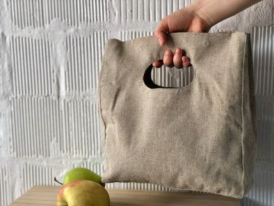 Linen Hand Bag Clutch - Natural Fabric  Lunch Bag - Beige Neutral Color Linen Canvas