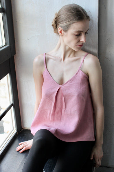 Linen Tank Top - Relaxed Linen Loungewear - Pink White Blue and More colors