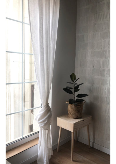 Sheer Tab Top Linen Panels - Voile Curtains in White Natural or Blue Colours