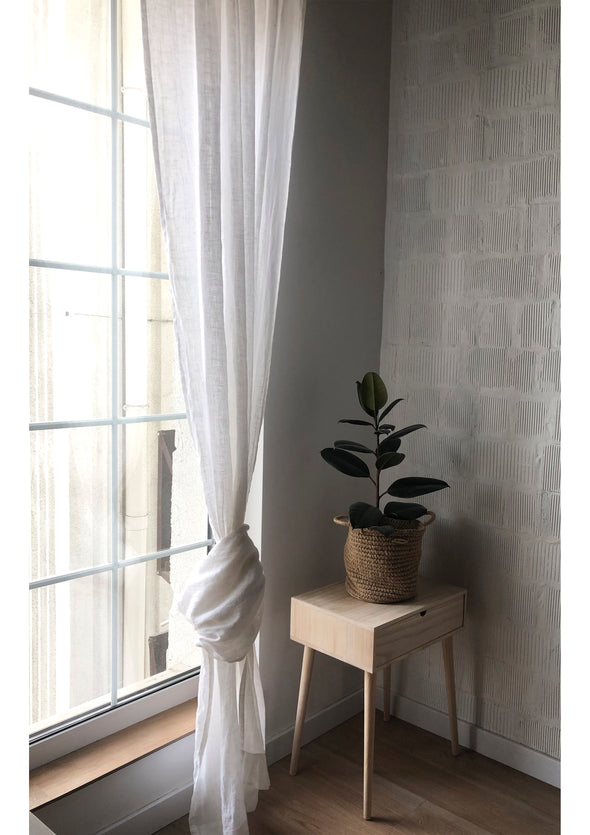 Linen Sheer White Curtain - Rod Pocket Window Drapery - Unlined Sheer Curtain Panel