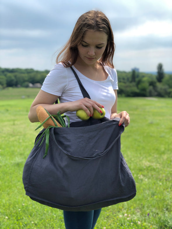 Linen Charcoal Grey Shopping Bag - Large Travel Gym Tote - Organic Casual Women Bag