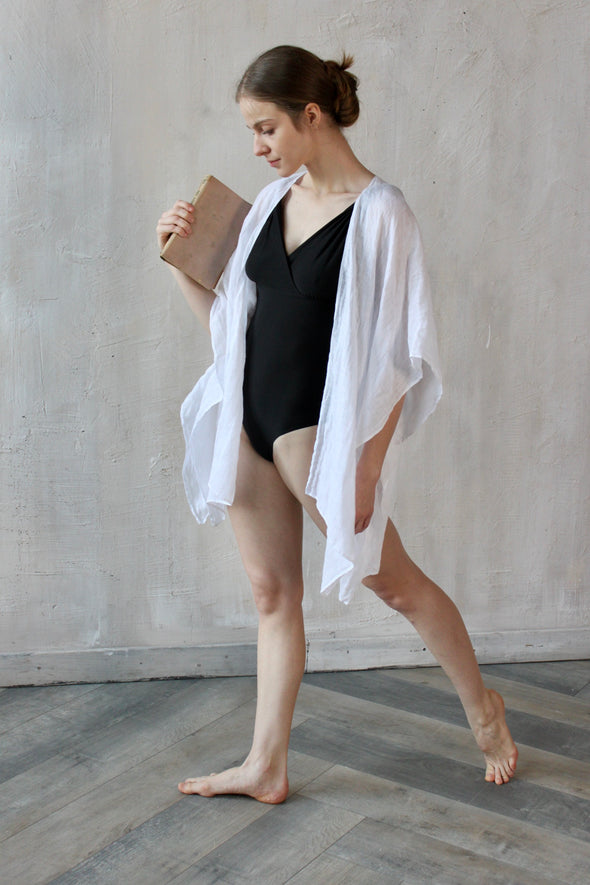 White 100% Linen Kimono Home or Beach - Lightweight cover-up - Summer  Outfit - Swimwear Cover-up