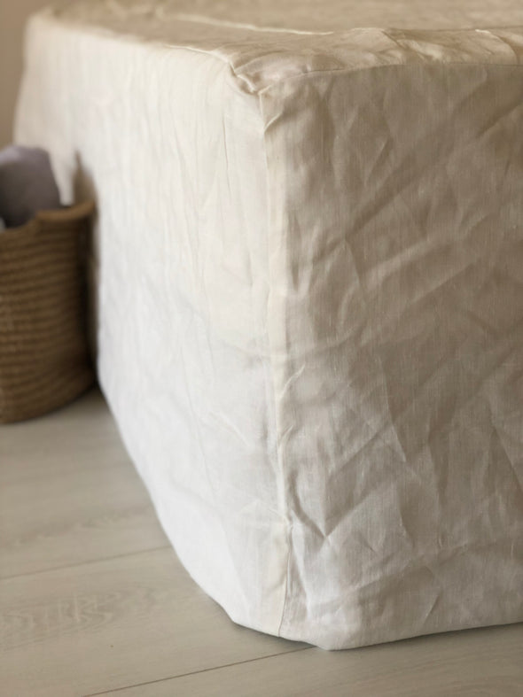 Oversized Linen Bedskirt with Cotton Lining, Relaxed Look, Not Pleated, 100% Linen