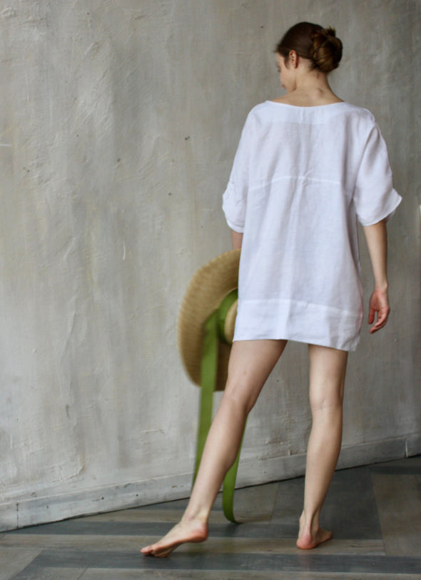 Women's Summer Linen White Tunics - Beach Dress with Short Sleeves - Different Sizes and Colors