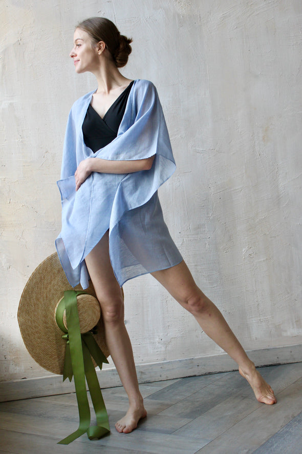 Blue Linen Gauze Kimono - Romantic Beachwear - Light Summer Vacation Outfit - Swimwear Cover-up