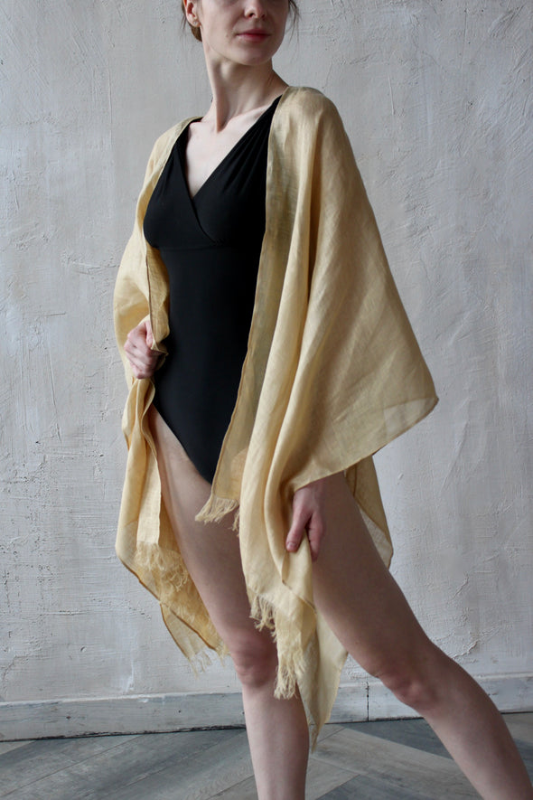 Linen Kimono Swimsuit Swimwear Cover-ups - Golden Yellow Beachwear - Tunic One Size