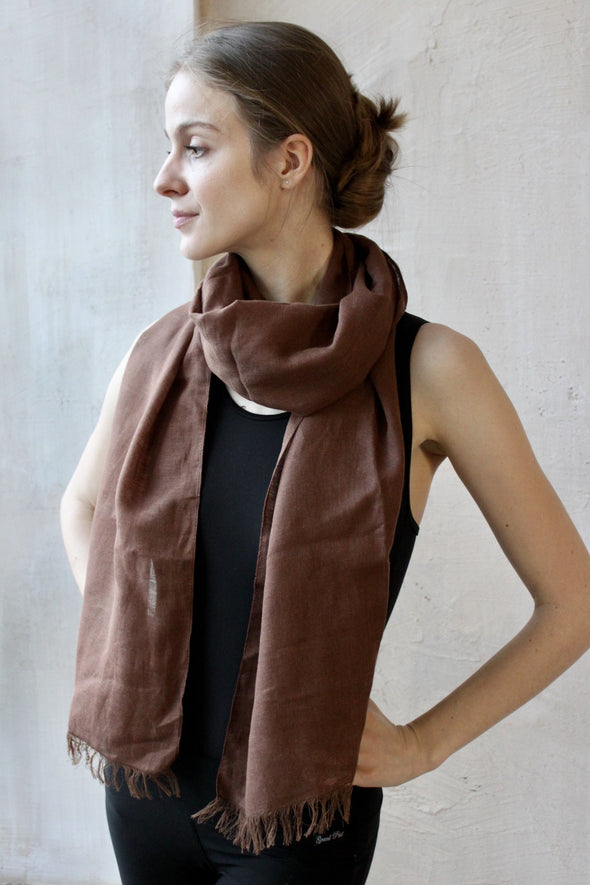 Natural Linen Scarf – Unisex Men or Women - with hemmed or fringed sides - white, brown, blue, sage and more colors