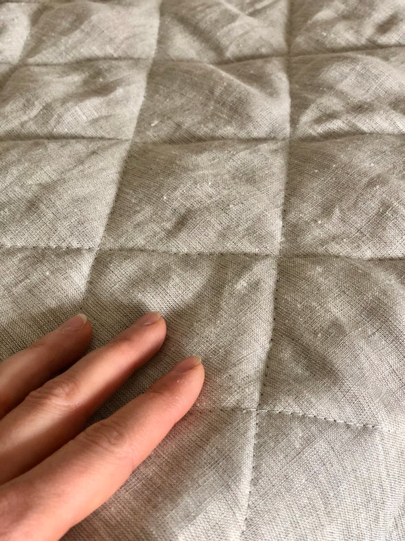 Linen Quilt Comforter - Diamond Stitched - Crib to Queen Mattresses - Backed with Linen Coverlet