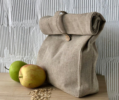 Linen Canvas Lunch Bag - Natural Linen Color Undyed 100% Linen - for Men Women and Kids