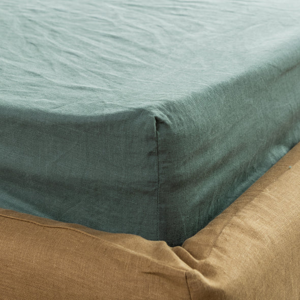 Linen Bedding Set 3 pcs - Linen Fitted Bottom Sheet and Pillowcases - Available in More Colors