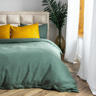 Dark Green Linen Duvet Cover - Zipper or Buttons Closure - King, Queen, Twin, Full Sizes