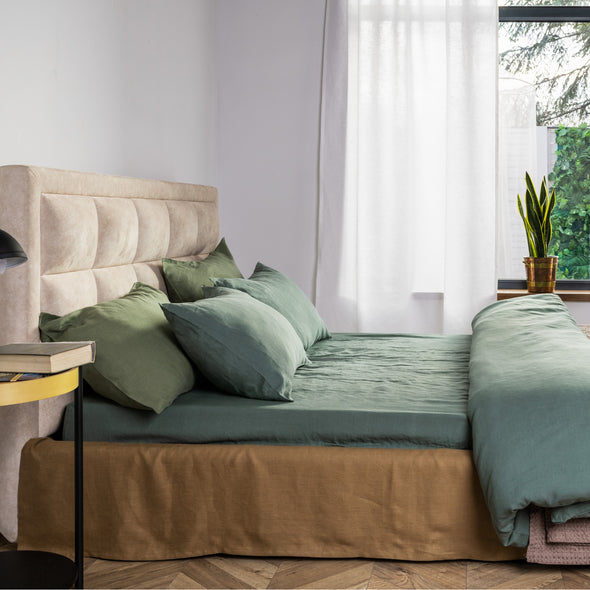 Dark Green Organic Linen Bedding 3 pcs Set - Duvet Cover and 2 Pillowcases in Natural, White and Grey Colors