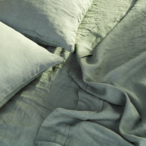 Dark Green Linen Pillowcase with Envelope Closure - Standard, Queen, King, Euro Sizes