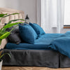 Dark Blue Organic Linen Bedding 3 pcs Set - Duvet Cover and 2 Pillowcases in Natural, White and Grey Colors